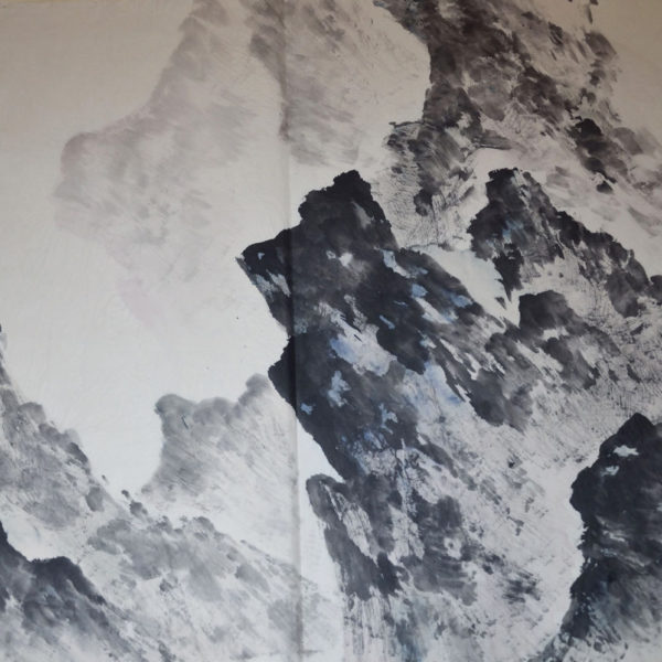 """Abstract Landscape"", Sumi Ink on Rice Paper, 30x40"""