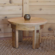 meditation side table natural color made from eco-friendly mango wood.