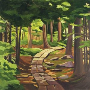 Catherine Breer Acadia Print forest path, acadia national park