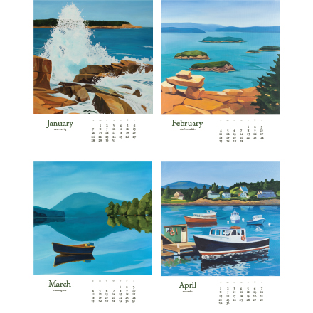 Acadia Desk Calendar 2018 january to april