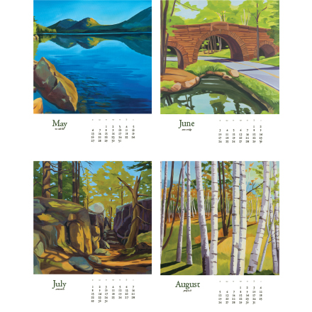 Acadia Calender 2018 may to august