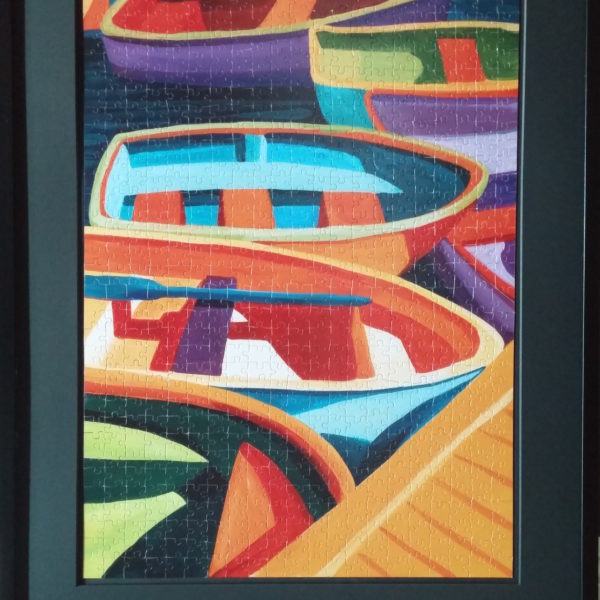 colors of boats puzzle framed