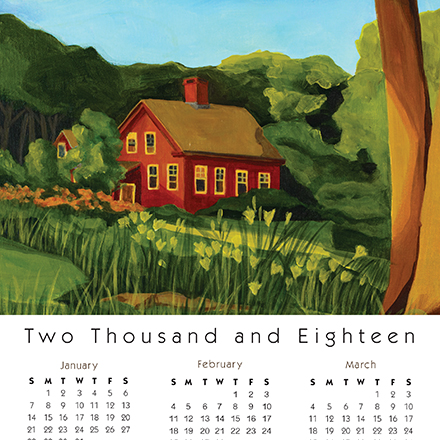 Calendar Card Red House for real estate agent