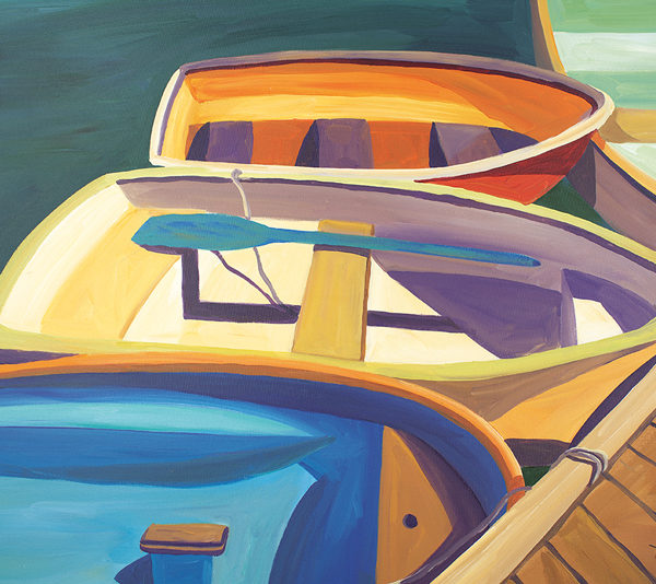 Catherine Breer Four Rowboats Art Print - Rectangle