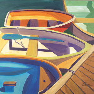 Catherine Breer Four Rowboats Art Print - Square