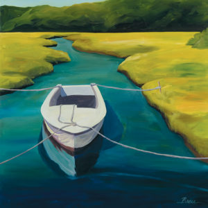 Catherine Breer Boat In Cove Art Print