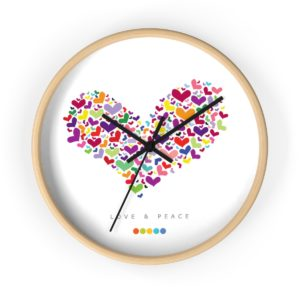 Peace Wall Clock Natural