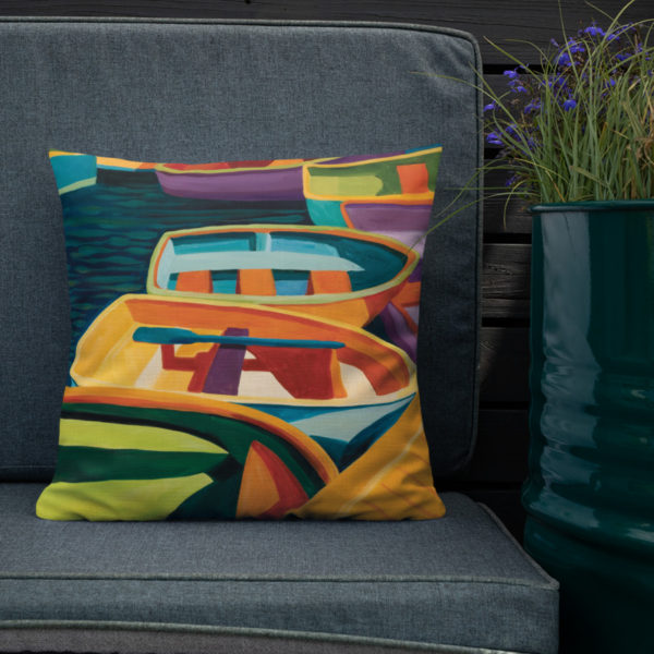 Color-of-Boats Decorative Pillow at home