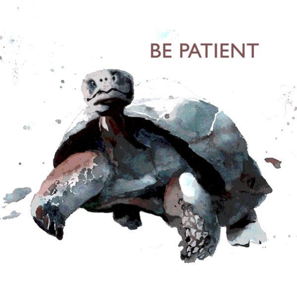 tortoise BE PATIENT tile trivet
